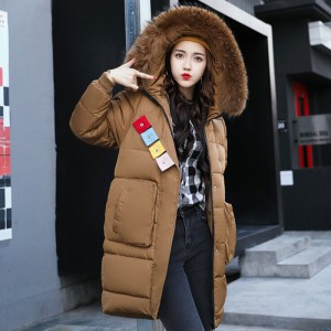 Winter Fashion Jacket Women Faux Fur Collar Hooded Thickening Parka Jackets Medium Long Cotton Padded Female Coat