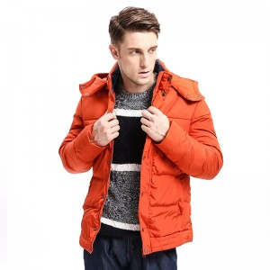 Winter Fashion New  Men Down Coat Hoodie Jacket Turn Down Warm Solid Color Fashion Down Multi Pockets Parka