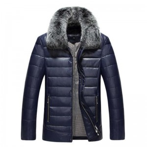 Winter high grade men down jacket leather jacket business casual warm men coat windproof solid color collar