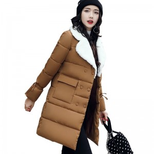 Winter Jacket Women Warm Turn Down Collar Thicken Long Parka Female Solid Cotton Padded Winter Coat