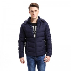 Winter Light Weight Men Down Jacket Casual Slim Fit Warm Down Coat Hat Detachable Stand Collar Male Coats