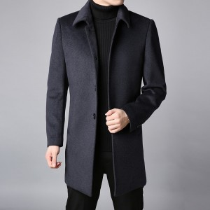 Winter New Fashion Coat Mens Trench Coat Slim Fit Pea Coat Warm Jacket Wool Blends Overcoat Long Casual Men Clothing
