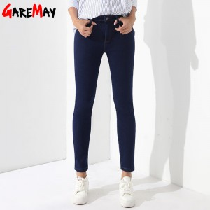Winter Pants Jeans Female Velvet Warm Pencil Jeans Elastic Denim Thicken Pants For Women Pantalon Taille Haute Femme