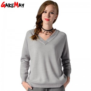 Winter Pullover Sweater Long Sleeve V Neck Knitted Loose Sweater For Women