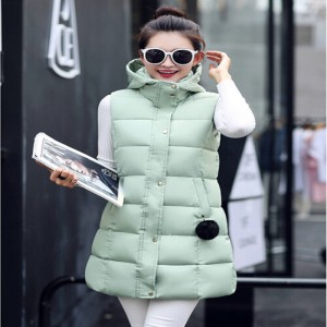 Winter Vest Women 2016 New Fashion Waistcoat Plus Size Slim Candy Color Vests Hooded Down Cotton Warm Long Vest Female