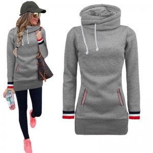 Winter Warm Turtleneck Collar Harajuku Hoodies Women Long Sleeve Drawstring Sweatshirt With Pockets
