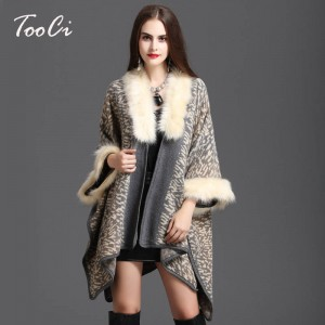 Winter Women Sweater Cardigan High Quality Faux Fur Collar Poncho Wool Shawl