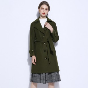 Winter Wool Coat Female Womens Coat Wool Blends Vintage Turn Down Collar Single Breasted Slim Belt Cardigan Outwear