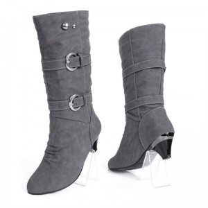 Women boots winter 2019 fashion Pu leather buckle strap winter snow boots women knee length shoes