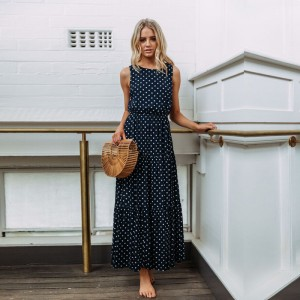 Women Casual Polka Dot Print Long Maxi Dress Femme Boho Beach Dress Sexy Evening Party Bodycon Vintage Dresses