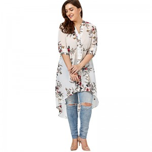 Women Chiffon Floral Blouse V Neck Plus Size Spring Autumn Long Sleeve Shirts With Button Female Top Long Shirts