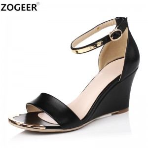 Women High Heels Sandals Open Toe Wedges Heels Sandals Women Concise Dress Shoes Ankle Strap Party Shoes