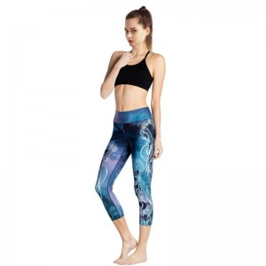 Women High Waist fish Print Capri Pants Fitness Elastic Capris Skinny Breathable Quick Dry Trousers Insider Pocket