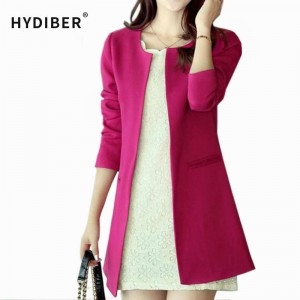 Women Long Blazer Jackets Coats Solid Color Casual Femino Long Sleeve Warm Jackets Coats Thumbnail
