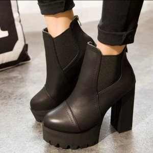 Women Motorcycle Boots Black High Heels Boots Lacing Platform Ankle Boots Chunky Plus Size Female Footwear