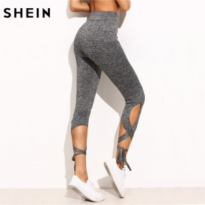 Women Pants Trousers for Ladies Fitness Plain Light Grey High Waist Crisscross Tie Fitness Elastic Leggings