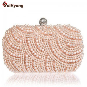 Women Pearl Handbags Clutches Hand Beaded Diamond Clutch Purse Long Short Chain Tote Evening Messenger Clutch Thumbnail