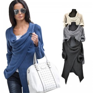Women Poncho Long Sleeve 4 Colors Office Jacket Coat Irregular Cardigan O Neck Loose Autumn Style Casual Top Outfit