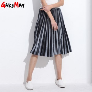 Women Skirt Pleated Jupe Femme Long Warm High Waist Skirts For Women Elegant Female Green Velvet Skirts Retro