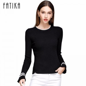 Women Striped Flare Sleeve Fashion Pullover and Sweater Autumn Winter Female Soft Comfortable Warm Slim Pullovers