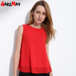 Women Summer Tops Sleeveless Feminine Blouses Loose Ruffle White Shirt Fashion Chiffon Blouse For Women Blouses