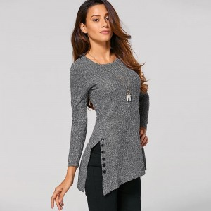 Women Sweater Winter O Neck Long Sleeve Side Button Irregular Hem Solid Sexy Slim Sweaters Female Knitted Cardigans