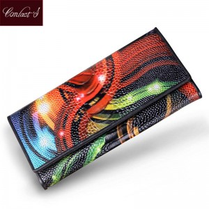Women Wallets Genuine Leather Medium Long Organizer Wallets Plastic Surface Femina Wallets Thumbnail