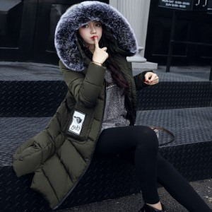 Women Winter Coat Jacket Thick Warm Woman Parkas Medium Long Female Overcoat Fur Collar Hooded Cotton Padded Coats