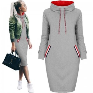 Women Winter dress Sweatshirt Slim Long sleeve Turtleneck Drawstring Harajuku Hoodies Sweatshirt with pockets