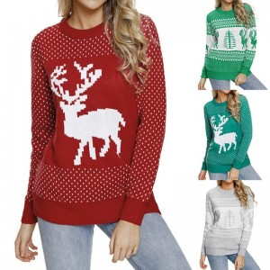 Womens Christmas patterns sweaters multi color long sleeve warm sweaters O neck knitted pullovers