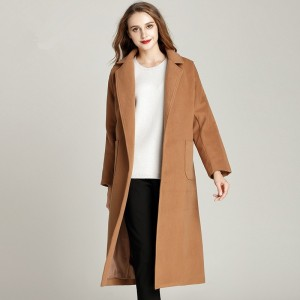 Woolen Winter Coat Extra Long Winter Fashion Turn Collar Cardigan Coat With Belt Plus Size Loose Simple Warm Coat