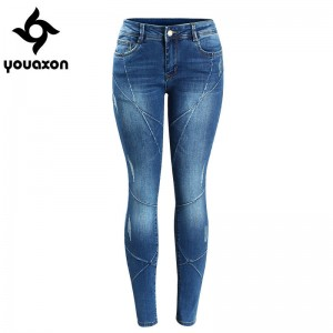 Youaxon Crossing Line Patchwork Plus Size Mild Low Waist Denim Jeans Skinny Stretchy For Women Thumbnail