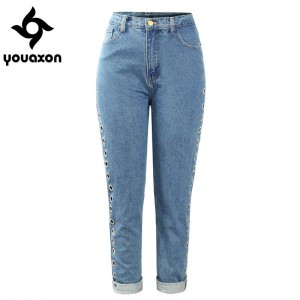 Youaxon Women After Party Vintage Rebel High Waist Loose Denim Pants Jeans For Women Thumbnail