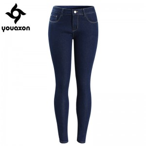 Youaxon Women Basic Dark Blue Jeans Denim Style Low Waist Stretchy Skinny True Denim Pants Women Thumbnail