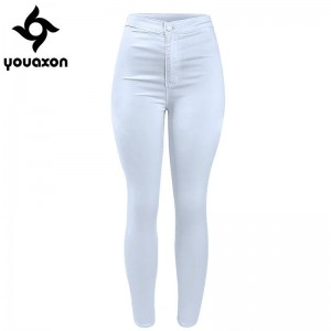 Youaxon Women High Waist Classic White Denim Jeans Stretch Skinny Trousers Pants For Women Thumbnail