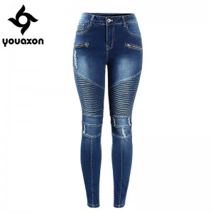 Youaxon Women Motorcycle Biker Jeans Mid High Waist Stretch Skinny Denim Jeans For Women Thumbnail