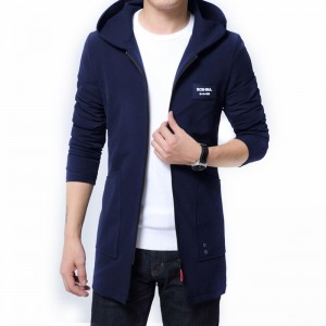 Zipper Slim Trench Coat Men Classic Korean Street Fashion Man Long Coat Punk Rave Plus Size Overcoat Streetwear