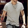 2018 Spring Summer Style Mens Clothing Striped Short Sleeved T Shirts Male Cotton Tops Tees Top Quality Clothing Extra Image 1