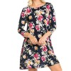 Autumn Mini Dress O Neck Florals Printed Women Casual Short Beach Boho Dress Vestidos Long Sleeve Above Knee Dress Extra Image 2