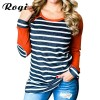 Autumn T Shirts Women Fashion Striped Patchwork Baseball Shirt Casual Long Sleeve Splice Camisetas Mujer Plus Size Extra Image 1