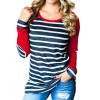 Autumn T Shirts Women Fashion Striped Patchwork Baseball Shirt Casual Long Sleeve Splice Camisetas Mujer Plus Size Extra Image 2