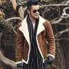 Autumn vintage old leather jacket men wool lining men warm fur collar jacket Mens Faux leather short jacket fur coat Extra Image 1