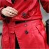 Autumn Winter Women Long Leather Jacket Slim Plus Size Bow Belt Motorcycle PU Leather Long Jacket Coat Leather Trench Extra Image 4