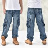 Baggy Hip Hop Jeans Multi Pockets Skateboard Cargo Pants Tactical Denim Jogger Thumbnail