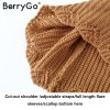BerryGo Cut Out Off Shoulder Knitted Pullover Women Casual Straps Flare Sleeve Sweater Loose Backless Streetwear Jumper Extra Image 6