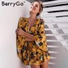 BerryGo flower Print batwing sleeve summer dress women Sexy v neck high waist beach dress bow short dresses streetwear Extra Image 2