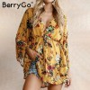 BerryGo flower Print batwing sleeve summer dress women Sexy v neck high waist beach dress bow short dresses streetwear Extra Image 4