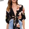 Black Plunge Floral Print Bow Knot Front Crop Chiffon Blouse Summer Half Sleeve Deep V Neck High Streetwear Blouses