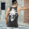 Black Printed Vests Street Style Male Summer Tops Sleeveless Cotton Bodybuilding Tank Tops Beach Vest For Men