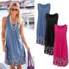 Bodycon Summer Dresses Boho T Shirt Floral Design Sleeveless Tank Dress Mini Dress High Waist Beach Sarong Tunic
